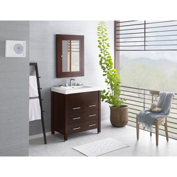 Ronbow Kali 31 Inch Bathroom Vanity Set In Dark Cherry With Medicine Cabinet,  Ceramic