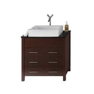 Ronbow Kali 31-inch Bathroom Vanity Set in Dark Cherry, Quartz Countertop with Ceramic Vessel Bathroom Sink in White