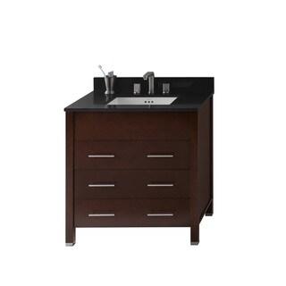 Ronbow Kali 31-inch Bathroom Vanity Set in Dark Cherry, Quartz Countertop and Backsplash with Ceramic Bathroom Sink in White
