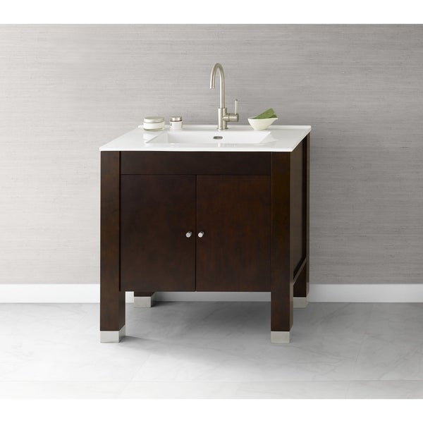 shop ronbow devon 31 inch bathroom vanity set in vintage walnut with ceramic bathroom sink top. Black Bedroom Furniture Sets. Home Design Ideas