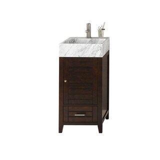 Ronbow Elise Vintage Walnut 18-inch Bathroom Vanity Set with White Carrara Marble Vessel Bathroom Sink