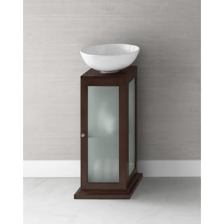 Ronbow Solis 15-inch Bathroom Vanity Set in Dark Cherry with Round Ceramic Vessel Bathroom Sink in White