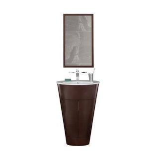Ronbow Leonie 23-inch Oval Bathroom Vanity Set in Dark Cherry with Mirror, Ceramic Drop-in Bathroom Sink in White