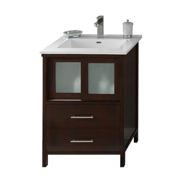 Shop ronbow minerva 24 inch dark cherry bathroom vanity set with white ceramic sink top free for 24 inch white bathroom vanity with top