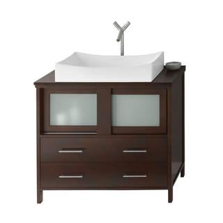 36 inch belvedere modern freestanding espresso bathroom vanity with vessel sink free shipping. Black Bedroom Furniture Sets. Home Design Ideas