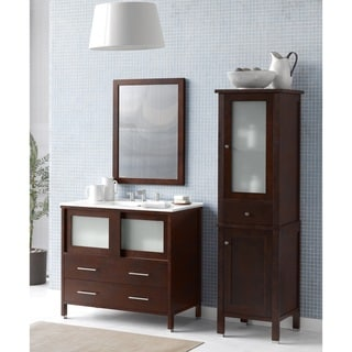Ronbow Minerva 36-inch Bathroom Vanity Set in Dark Cherry with Mirror and Linen Tower, Ceramic Bathroom Sink Top in White