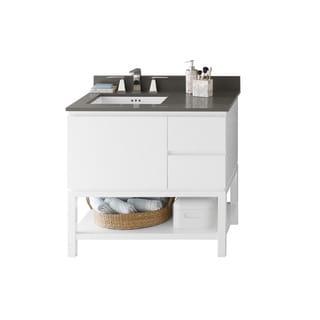 Ronbow Chloe 36-inch Bathroom Vanity Set in Glossy White, Quartz Countertop and Backsplash with Ceramic Bathroom Sink in White