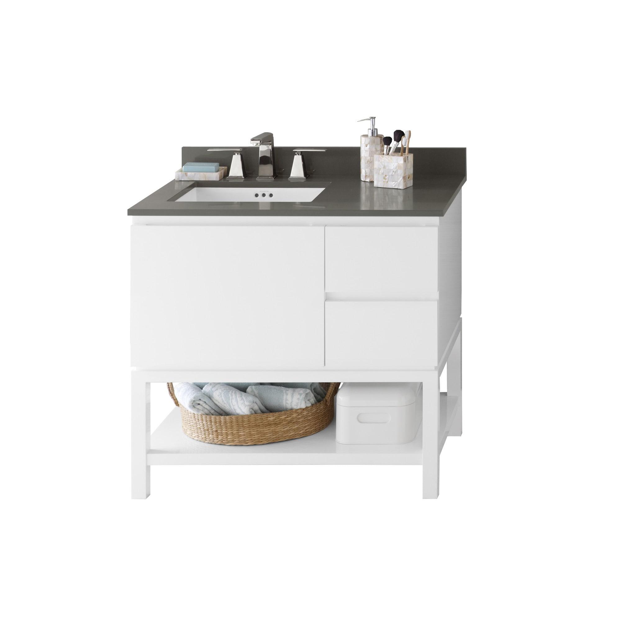 Ronbow Chloe 36 Inch Bathroom Vanity Set In Glossy White Quartz Countertop And Backsplash With Ceramic Bathroom Sink In White Overstock 13983703