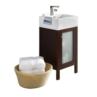 Ronbow Cami Dark Cherry 18-inch Bathroom Vanity Set with Mirror and White Ceramic Vessel Bathroom Sink