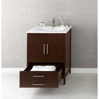 Ronbow Juno 24-inch Bathroom Vanity Set in Dark Cherry with Ceramic Bathroom Sink Top in White