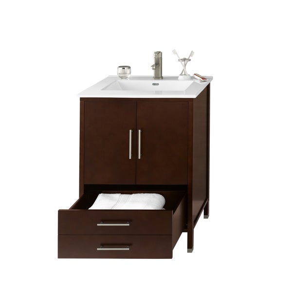 juno 24 inch bathroom vanity set in dark cherry with ceramic bathroom