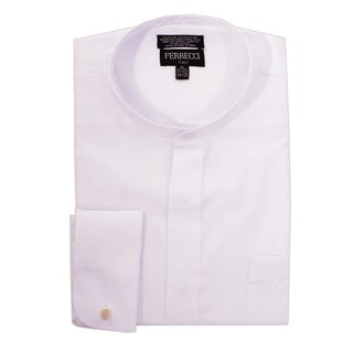 Link to Ferrecci Men's Clergy Bishop Deacon Priest White Mandarin Banded Collar Dress Shirt Similar Items in Shirts