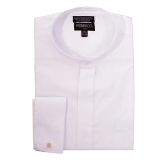Ferrecci Men's Clergy Bishop Deacon Priest White Mandarin Banded Collar Dress Shirt