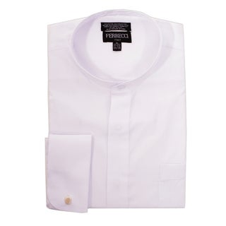 Ferrecci Men's Clergy Bishop Deacon Priest White Mandarin Banded Collar Dress Shirt