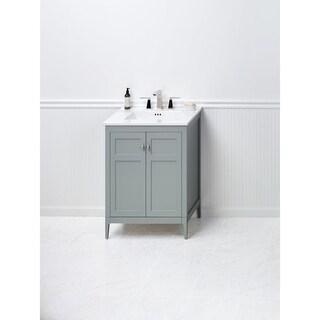 Ronbow Briella 24-inch Bathroom Vanity Set in Ocean Gray with Ceramic Bathroom Sink Top in White
