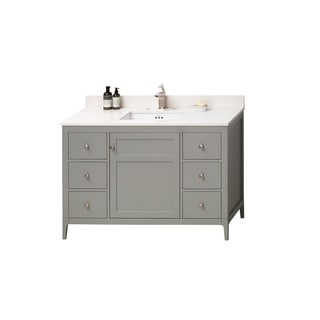 Ronbow Briella 48-inch Bathroom Vanity Set in Ocean Grey, Quartz Countertop and Backsplash with Ceramic Bathroom Sink in White