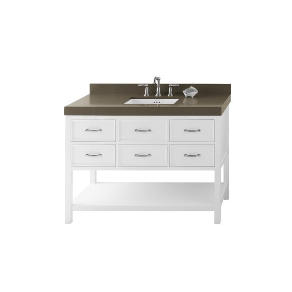 ronbow newcastle 48-inch bathroom vanity set in white, quartz