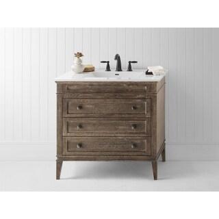Ronbow Laurel 36-inch Bathroom Vanity Set in Vintage Cafe with Ceramic Bathroom Sink Top in White
