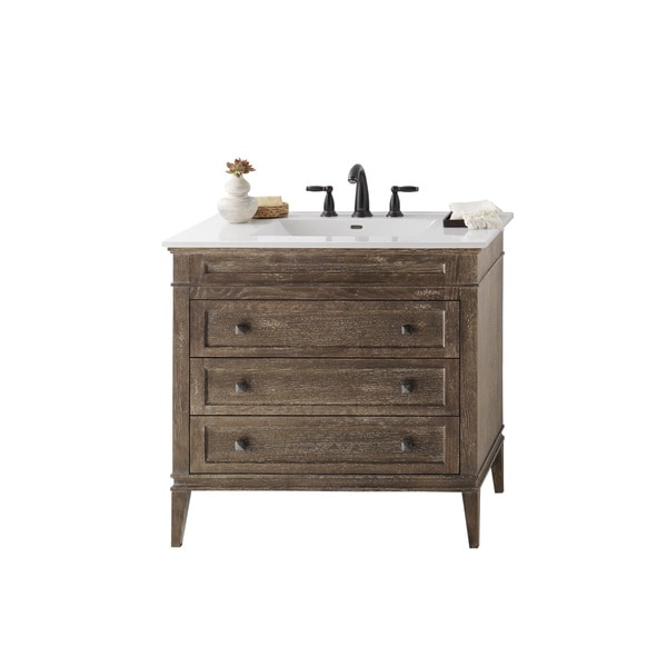 Ronbow Laurel 36 Inch Bathroom Vanity Set In Vintage Cafe With Ceramic Bathroom Sink Top