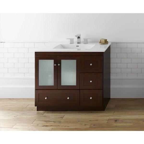 Ronbow Shaker 36-inch Bathroom Vanity Set in Dark Cherry with Ceramic Bathroom Sink Top