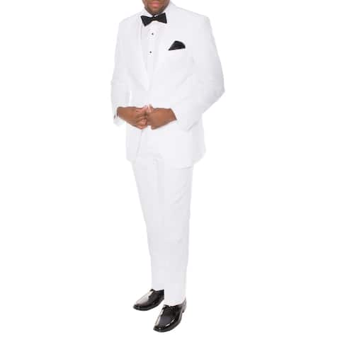 Ferrecci Men's Paul Lorenzo White Slim-fit Tuxedo (2-piece Set)