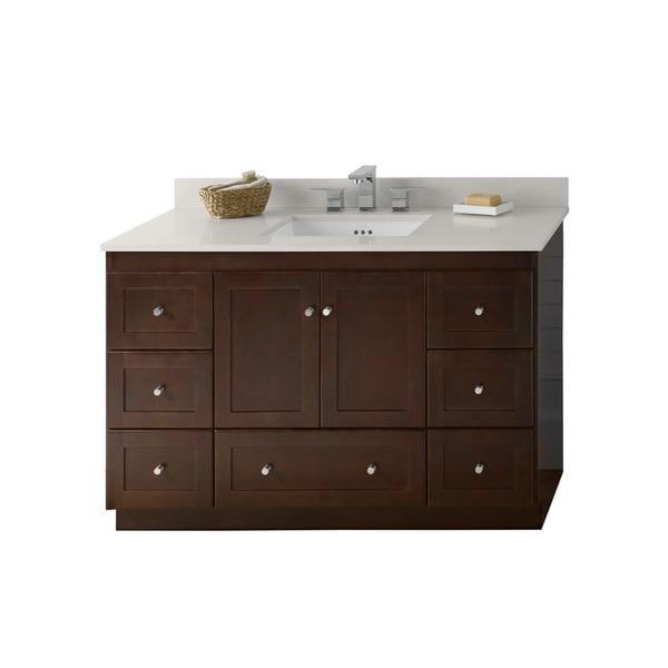 Shop ronbow shaker 48 inch bathroom vanity set in dark cherry quartz countertop and backsplash for 48 inch white bathroom vanity