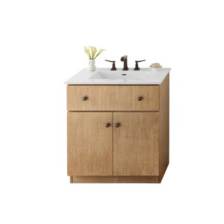 Ronbow Amberlyn 30-inch Bathroom Vanity Set in Vintage Honey with Ceramic Bathroom Sink Top in White