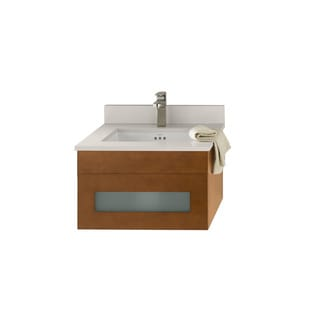 Ronbow Rebecca 23-inch Wall Mount Bathroom Vanity Set in Cinnamon with Quartz Countertop and White Ceramic Bathroom Sink