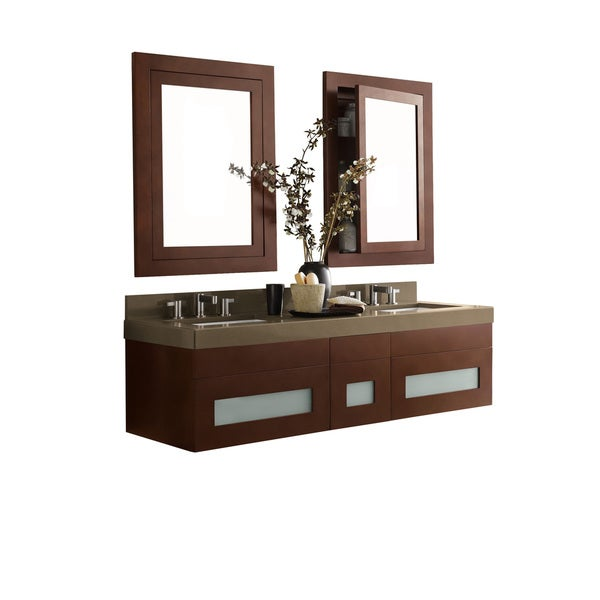 Shop ronbow rebecca 58 inch wall mount bathroom double vanity set in dark cherry free shipping for 58 inch double bathroom vanity