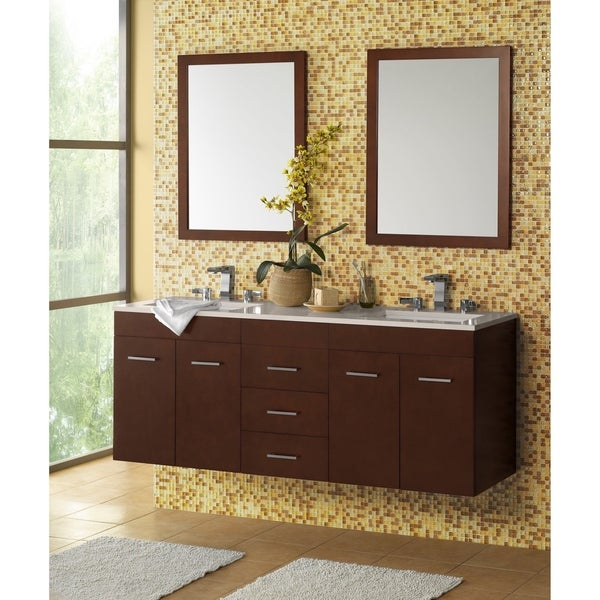 Ronbow Bella 61-inch Wall Mount Bathroom Vanity Set in Dark Cherry