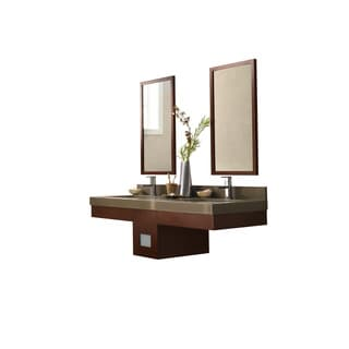 Ronbow Adina Dark Cherry 58-inch Wall Mount Bathroom Double Vanity Set with Mirror, Quartz Countertop with White Ceramic Sink