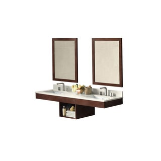 Ronbow Adina Dark Cherry 61-inch Wall Mount Bathroom Double Vanity Set with Mirror, Quartz Countertop and White Ceramic Sinks