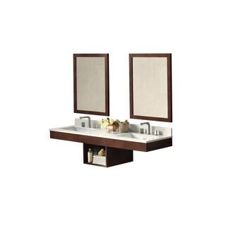 Ronbow Adina Dark Cherry 61-inch Wall Mount Bathroom Double Vanity Set with Mirror, Quartz Countertop and White Ceramic Sinks