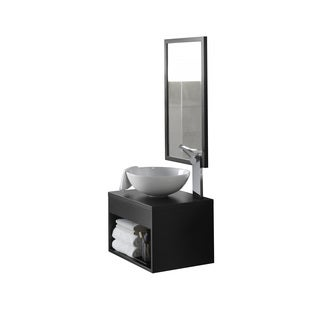 Ronbow Catalina Black 22-inch Wall Mount Bathroom Vanity Set with Mirror, Wood Top and Round White Ceramic Vessel Sink