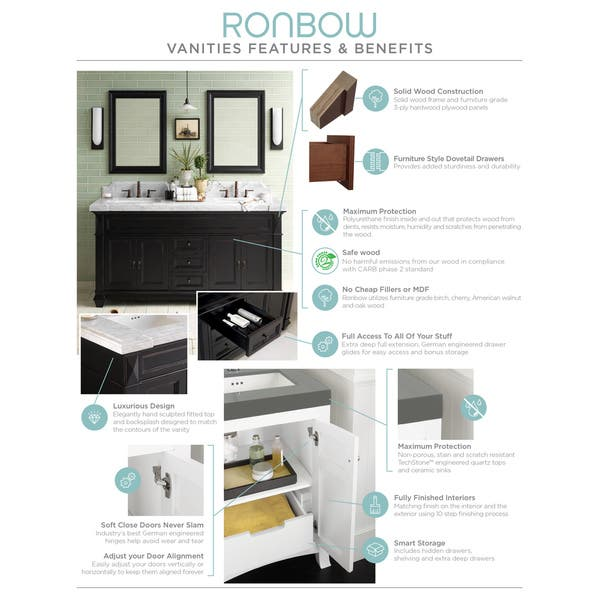 Ronbow Catalina Black 22 Inch Wall Mount Bathroom Vanity Set With Mirror Wood Top And Round White Ceramic Vessel Sink Overstock 13983893