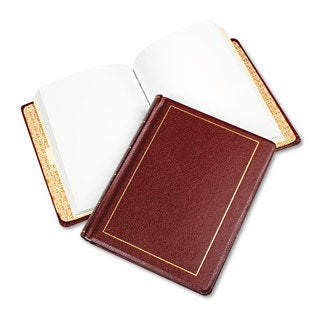 Wilson Jones Looseleaf Minute Book Red Leather-Like Cover 250 Unruled Pages 8 1/2 x 11
