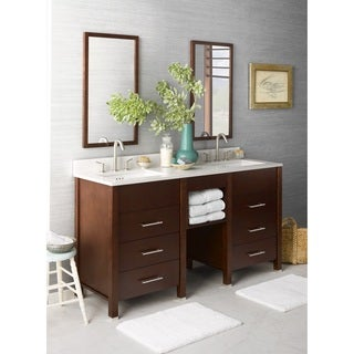 Ronbow Kali 61-inch Bathroom Double Vanity Set in Dark Cherry with Mirrors