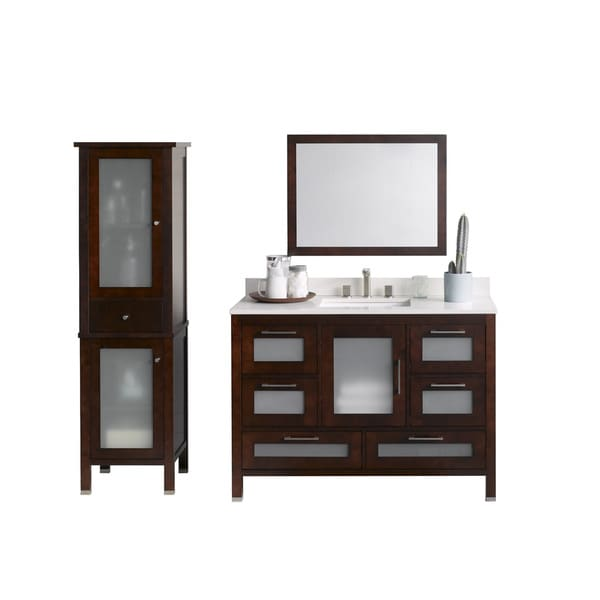 Ronbow Athena 48 Inch Bathroom Vanity Set In Dark Cherry With Mirror And Linen Tower Quartz Top