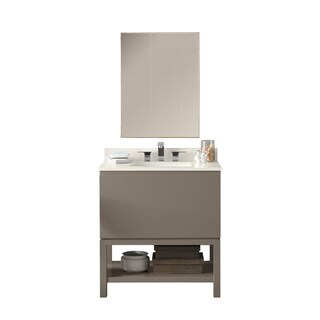 Ronbow Jenna 31-inch Bathroom Vanity Set in Blush Taupe with LED Mirror, Quartz Countertop with White Ceramic Bathroom Sink