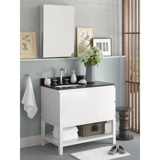 Ronbow Chloe 36-inch Bathroom Vanity Set in Glossy White with Medicine Cabinet, Quartz Countertop with White Ceramic Sink