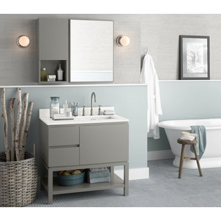 Ronbow Chloe 36-inch Bathroom Vanity Set in Slate Grey with Mirror and Wall Cabinet, Quartz Countertop with White Ceramic Sink