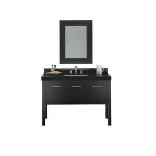 Ronbow Calabria 48-inch Bathroom Vanity Set in Black with Medicine Cabinet, Quartz Countertop with White Ceramic Bathroom Sink