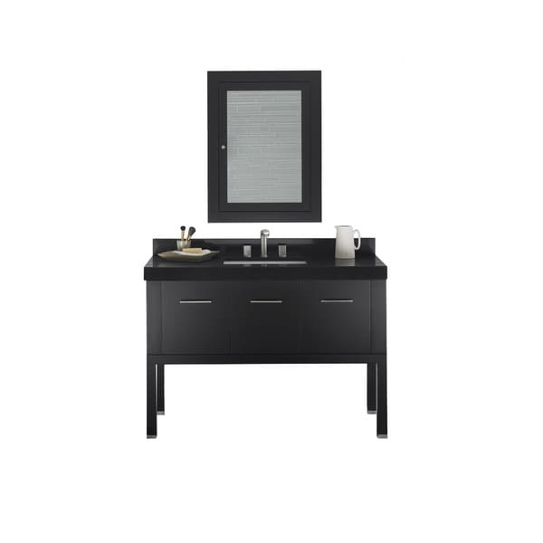 ronbow calabria 48-inch bathroom vanity set in black with medicine