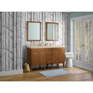 Ronbow Venus 58-inch Bathroom Double Vanity Set in Cinnamon with Mirror, Marble Countertop with White Ceramic Bathroom Sink