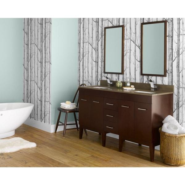 Ronbow Venus 58 Inch Bathroom Double Vanity Set In Dark Cherry With Mirror Quartz Countertop