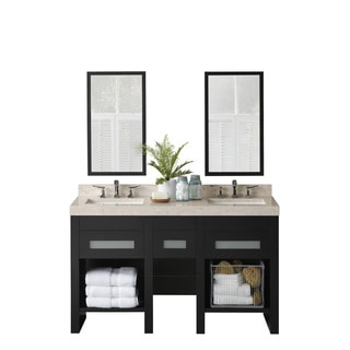 Ronbow Kendra 58-inch Bathroom Vanity Set in Black with Mirror, Marble Countertop and Backsplash with White Ceramic Sink