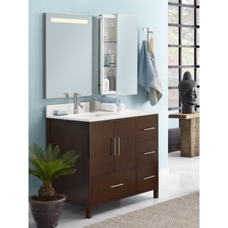 Ronbow Juno 36-inch Bathroom Vanity Set in Dark Cherry with LED Mirror, Wall Cabinet, Quartz Countertop with White Ceramic Sink