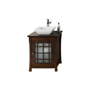 Ronbow Shoji 25-inch Bathroom Vanity Set in Vintage Walnut, Wood Countertop with Square Ceramic Vessel Bathroom Sink in White