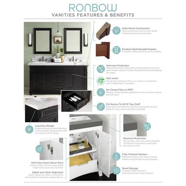 wood countertop for bathroom vanity Shop Ronbow Shoji 25 Inch Bathroom Vanity Set In Vintage