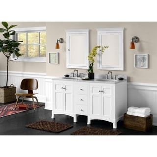 Ronbow Hampton 60-inch Bathroom Double Vanity Set in White with Medicine Cabinet, Marble Top with White Oval Ceramic Sink
